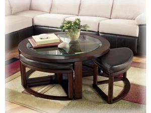 Marion Round Cocktail Table w/ 4 Backless Stools by Ashley Furniture