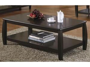 Contemporary Rich Cappuccino Coffee Table with Bottom Shelf by Coaster