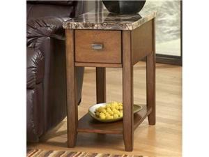 Chairside End Table Furniture in Light Brown Finish