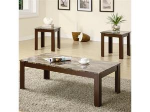 Brown Faux Marble Occasional Coffee  End Table 3-Piece Set by Coaster