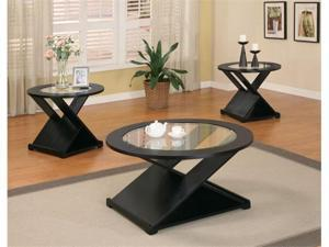 Becky 3 Piece Occasional Table Set in Black Finish by Coaster Furniture