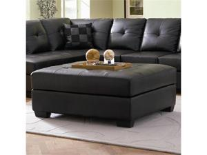 Contemporary Black Leather Cocktail Ottoman by Coaster