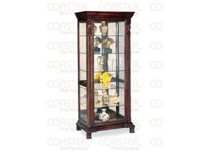 Classic Style Curio Cabinet in Cappuccino Finish by Coaster Furniture