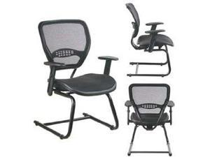 Professional AirGrid Seat and Back Visitors Chair with Adjustable Angled Arms And Sled Base