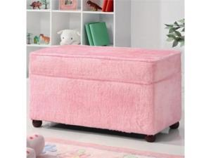 Youth Fuzzy Pink Fabric Upholstered Storage Bench