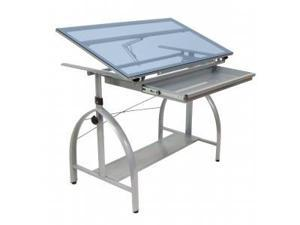 Avanta Drafting Table (Silver/Blue Glass)  by Studio Designs