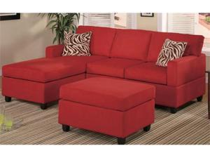 3 Piece Red Microfiber Sectional Sofa by Poundex