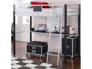 LeClair Contemporary Black Kids Metal Twin Loft Bed with Desk by Coaster