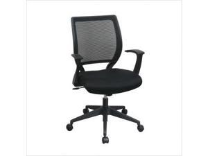 Screen Back Task Chair with Black Mesh Seat and Fixed Designer Arms Color: Gray