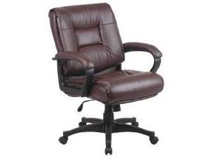 Deluxe Mid Back Executive Leather Chair with Padded Loop Arms (Burgundy)