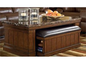 Rectangular Cocktail Table w in MediumBrown  Finish