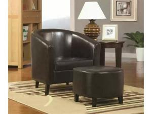Contemporary Chair/Ottoman by Coaster