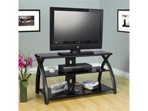 FUTURA TV STAND BLACK/BLACK GLASS BY STUDIO-DESIGNS