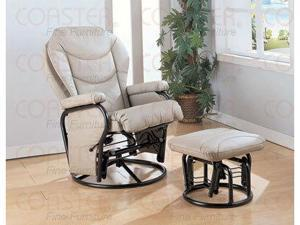 Bone Leatherette Cushion Swivel Glider Rocker with Ottoman by Coaster Furniture