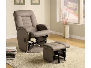 Kinley Gliding Chair And Ottoman in Beige Vinyl by Coaster Furniture