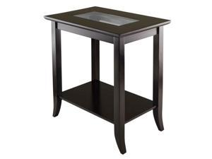 Genoa Rectanugular End Table with Glass Top and shelf