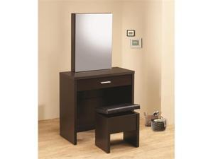 Vanity with Hidden Mirror Storage and Lift-Top Stool in Brown by Coaster