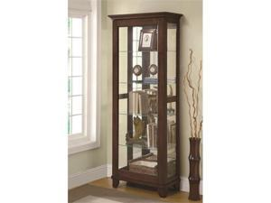 5 Shelf Curio Cabinet with Mirrored Back  Can Lighting by Coaster
