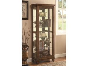 5 Shelf Curio Cabinet with Warm Brown Finish  Mirrored Back by Coaster
