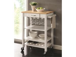 White/Natural Kitchen Cart with Butcher Block Top by Coaster