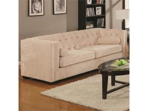 Transitional Chesterfield Sofa with Track Arms in Beige by Coaster