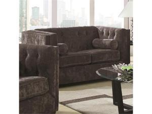 Transitional Chesterfield Stationary Loveseat with Track Arms in Charcoal by Coaster