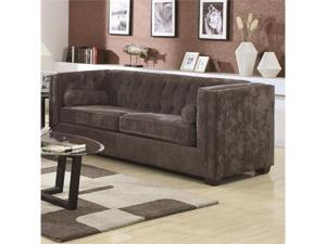 Transitional Chesterfield Sofa with Track Arms in Charcoal by Coaster