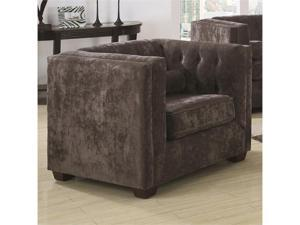 Transitional Upholstered Chesterfield Chair with High Track Arms in Charcoal by Coaster