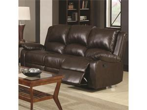 Casual Three Seat Reclining Sofa in Brown by Coaster