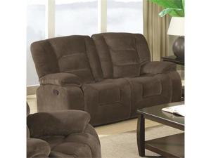 Casual Styled Double Reclining Love Seat in Brown by Coaster