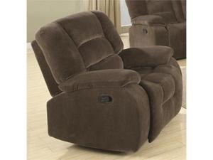 Casual Rocker Recliner in Soft Brown Upholstery by Coaster