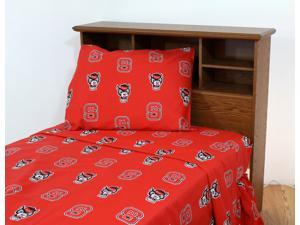 NC State Printed Sheet Set King - Solid by College Covers
