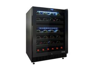 46-Bottle Dual-Zone Wine Cooler with Seamless Glass Door (Right-Hinge Model) in Black by Vinotemp