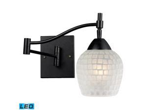 Elk Celina 1-Light Swingarm Sconce Dark Rust and White Glass - 10151-1DR-WHT-LED