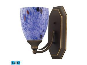 Elk 1 Light Vanity in Aged Bronze and Starburst Blue Glass - 570-1B-BL-LED