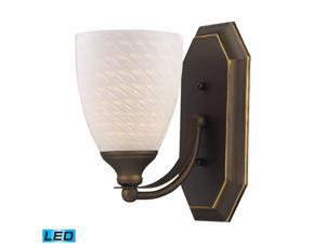 Elk Lighting 1 Light Vanity in Aged Bronze and White Swirl Glass - 570-1B-WS-LED