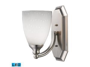 Elk 1 Light Vanity in Satin Nickel and Simply White Glass - 570-1N-WH-LED
