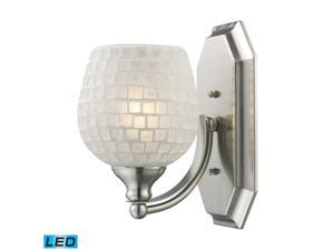 Elk 1 Light Vanity in Satin Nickel and White Mosaic Glass - 570-1N-WHT-LED