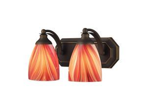 Elk Lighting Vanity 2 Light Vanity in Aged Bronze and Multi Glass - 570-2B-M
