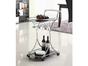 Serving Cart with 2 Black Glass Shelves by Coaster