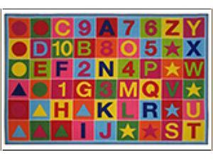 Fun Time Alphanumeric Fun Multi Colored 39 In. x 58 In. Kids Rug