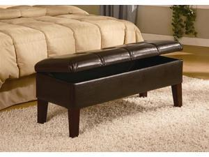 Classic Leather Brown Bench by Coaster Furniture