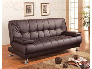 Brown Vinyl Sofa Bed by Coaster