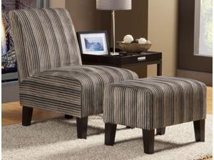 Zoey Collection Accent Chair  Ottoman in Polyester Finish by Homelegance