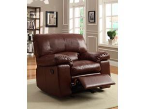 Glider Recliner Chair in Brown Bonded Leather Match by Homelegance
