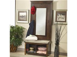 Walnut Finish Hall Tree Coat Hanger with Storage Bench by Coaster Furniture