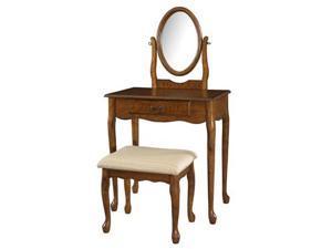 Powell Woodland Oak Vanity, Mirror & Bench - 604-510