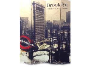 4-Panel Room Divider Brooklyn Then and Now City by Ore