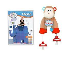Brainy Baby Animals DVD and PullyPalz MoMo the Monkey Interactive Pacifier Toy Combo