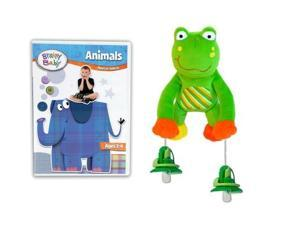 Brainy Baby Animals DVD and PullyPalz Puddles the Frog Interactive Pacifier Toy Combo